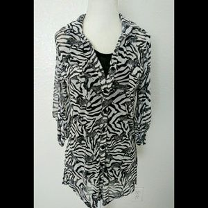 French Laundry Zebra Blouse/Top Size Small